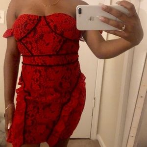 Red lace contrast arm cuff bodycon dress
